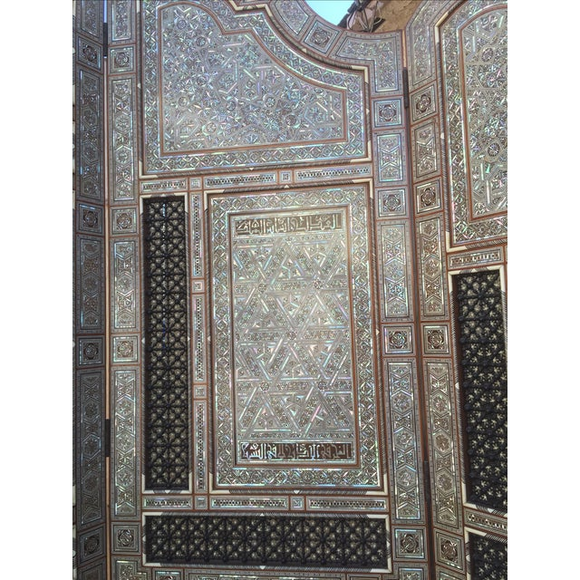 Egyptian Inlaid Mother of Pearl Trifold Screen - Image 4 of 6