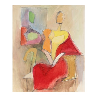Gerald Wasserman Modernist Figures in Gouache, 20th Century For Sale
