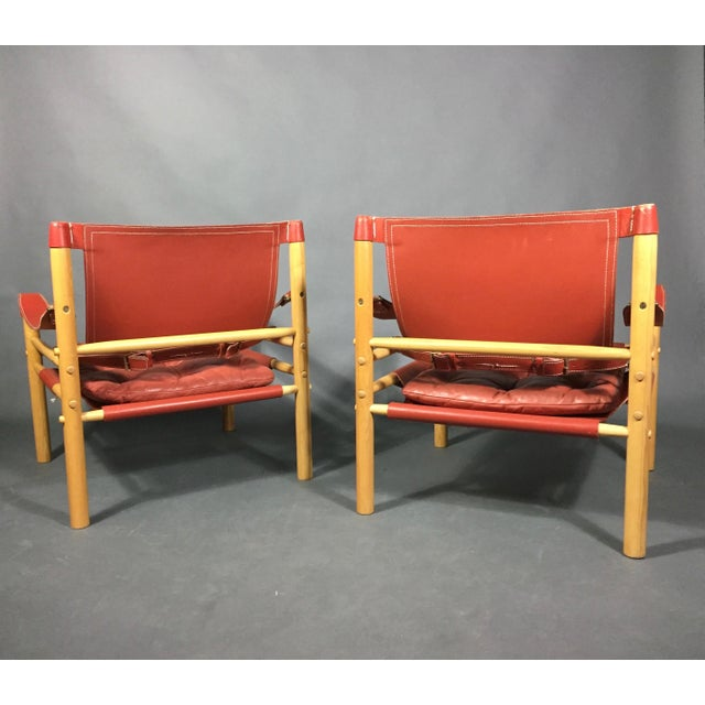 Arne Norell Scandinavian Modern Arne Norell Red Leather Sirocco Chairs - a Pair For Sale - Image 4 of 12