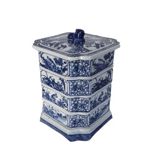 Blue & White Porcelain Stacked Boxes For Sale
