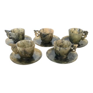 Chinese Jade Cups and Saucers, Set of 5 For Sale
