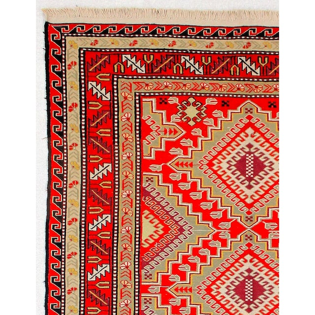Afghan Red & Orange Afghan Sumak Kilim Rug - 5′3″ × 8′3″ For Sale - Image 3 of 6