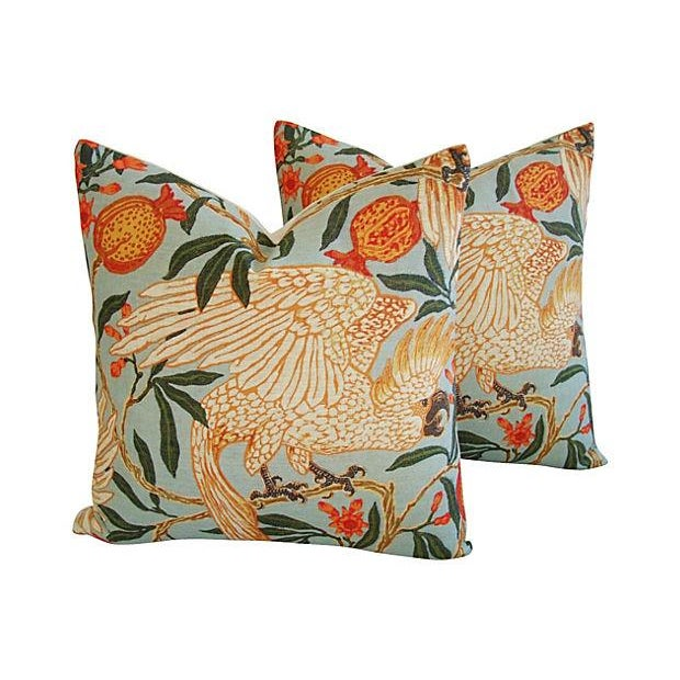 "20"" Colorful Tropical Parrot & Pomegranate Feather/Down Pillows - Pair - Image 2 of 8"
