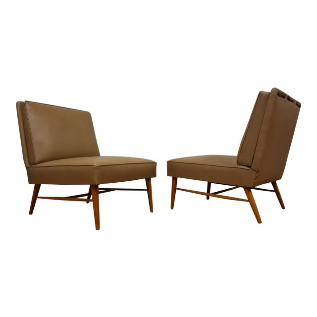 Mid-Century Modern Beige Slipper Lounge Chairs - A Pair For Sale