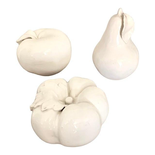 Italian Vintage Blanc De Chine White Ceramic Fruits - Set of 3 For Sale