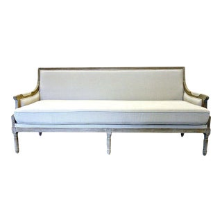 French Louis XVI Style Bleached Oak Sofa For Sale