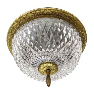 Waldorf Cut Crystal Flush Mount Fixture With Heavy Brass Fitter For Sale