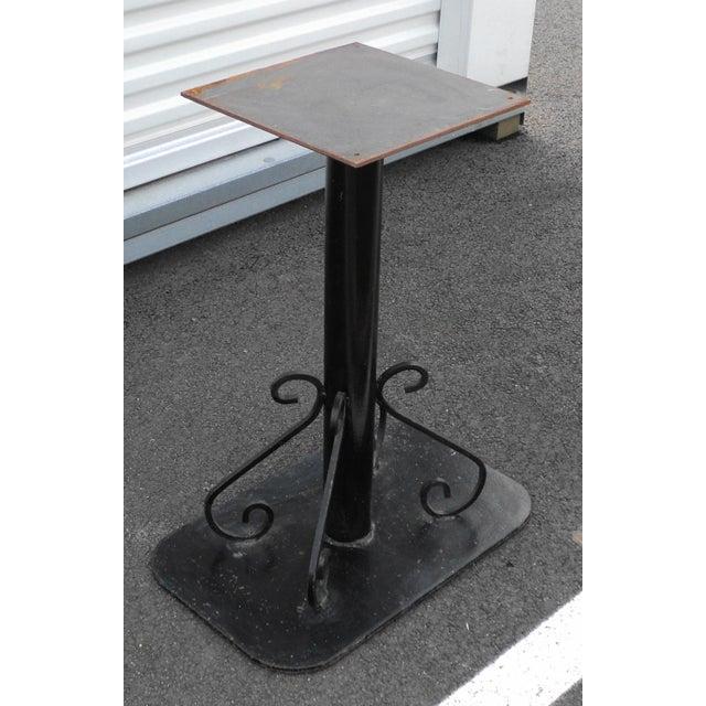 Art Deco Antique Black Painted Art Deco Cast Iron Table Base For Sale - Image 3 of 11
