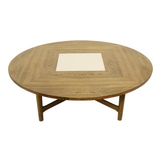 Round Mid Century Modern Coffee Table Attributed to Drexel For Sale
