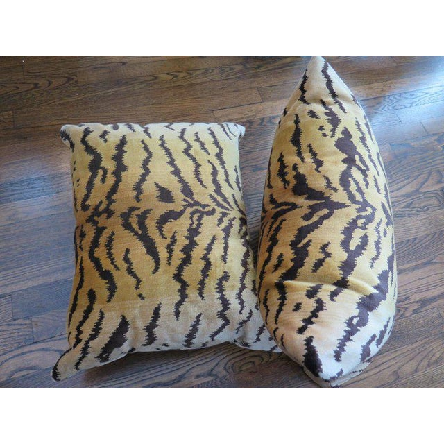 Hollywood Regency Scalamandré Le Tigre Silk Velvet Pillows For Sale - Image 3 of 5