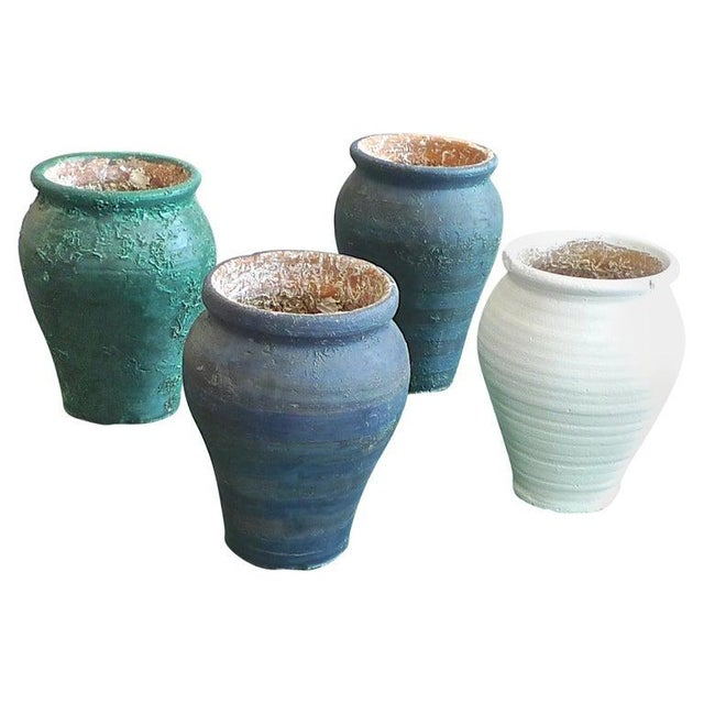19th Century French Provence Terra-Cotta Hand Painted Pots - Set of 4 For Sale - Image 13 of 13