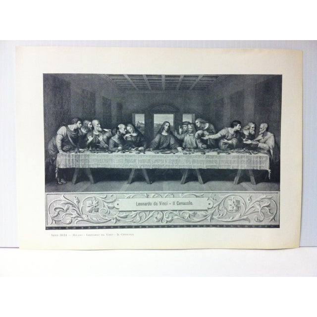 """This is a Vintage Print on Paper of Milano, Italy that is titled """"Leonardo Da Vinci - Il Cenacolo"""". The Print was..."""