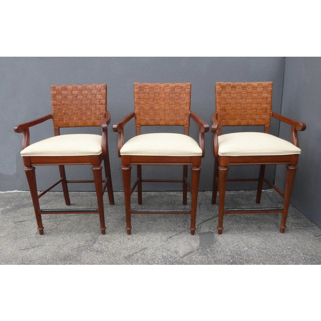 Stanley Furniture Palm Beach Style Rattan Bar Stools - Set of 3 - Image 2 of 13