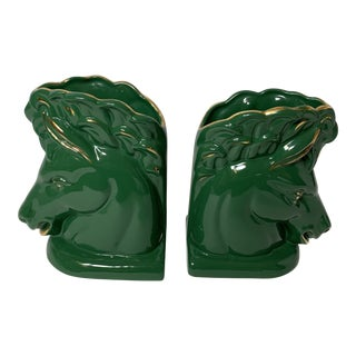Vintage Emerald Horse Head Vases/Bookends - a Pair For Sale