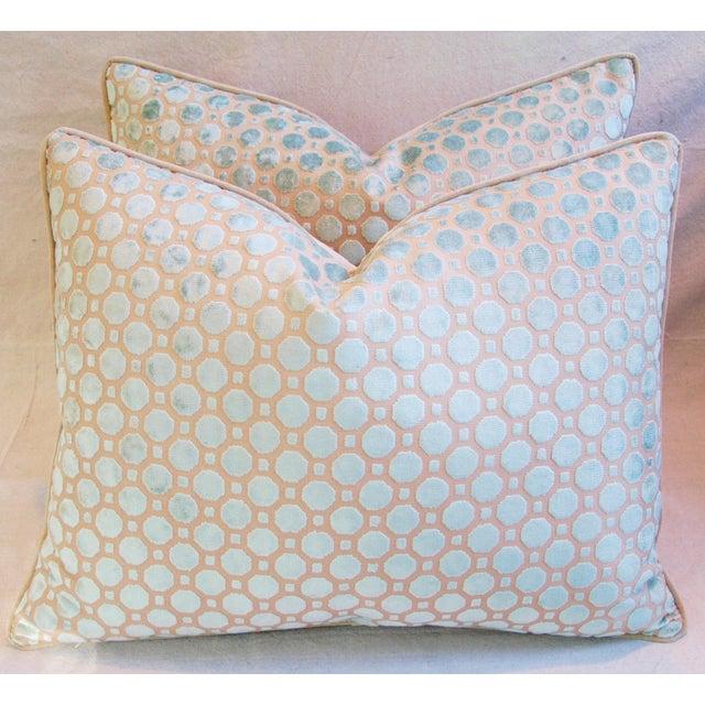 Aqua Blue Velvet Geometric Pillows - Pair - Image 2 of 7