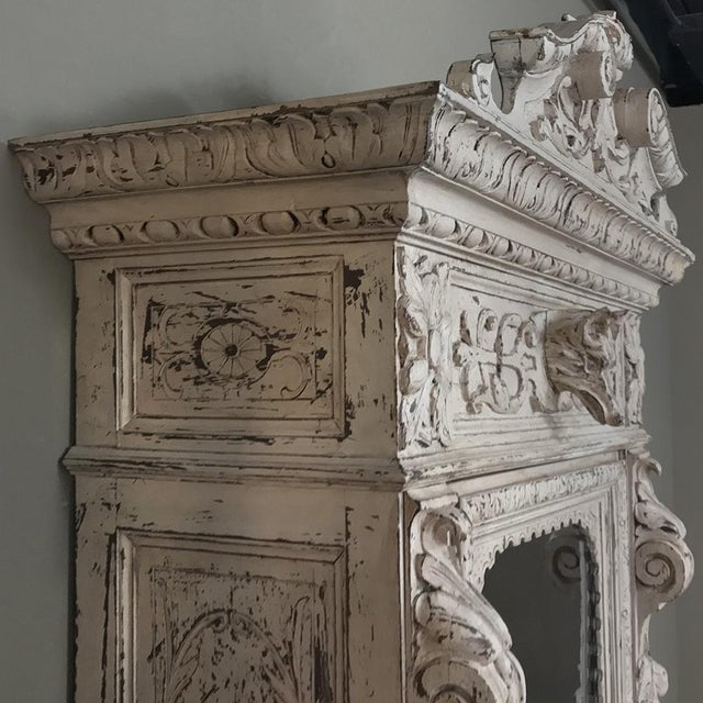 Oak 19th Century French Renaissance Painted Hunt Bookcase Buffet a Deux Corps For Sale - Image 7 of 12