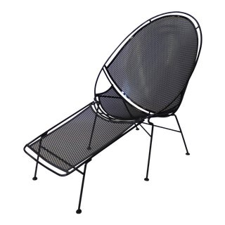 Pair of Salterini Wrought Iron High Back Lounge Chairs For Sale