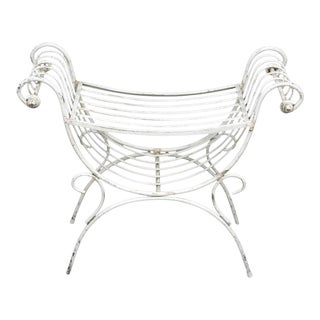 White Painted Iron Vanity Bench For Sale