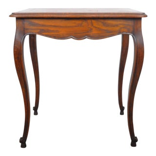 1930's French Queen Anne Walnut Flip Top Side Table For Sale