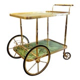 Image of Mid-Century French Brass & Faux Malachite Bar Cart For Sale
