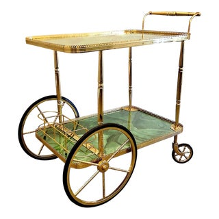 Mid-Century French Brass & Faux Malachite Bar Cart For Sale