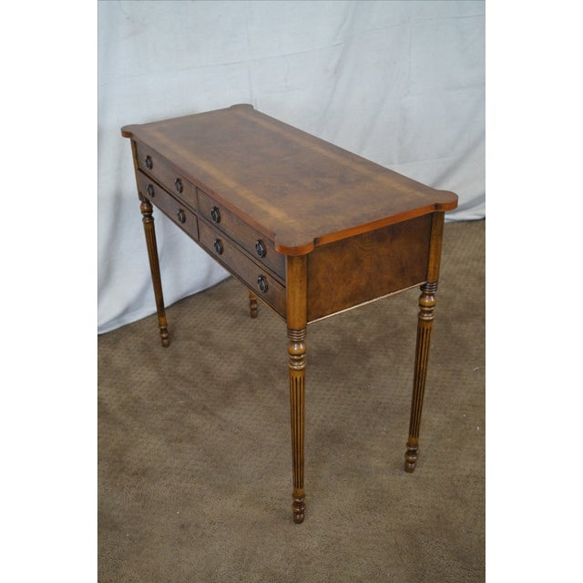 English Burl Walnut Sheraton Style Console Table For Sale - Image 10 of 10