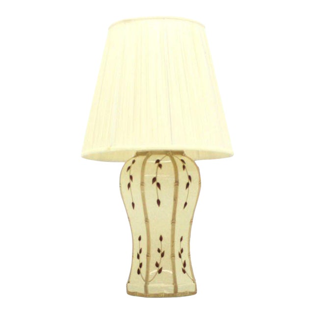 Faux Bamboo Motive Art Decorated Mid-Century Modern Lamp For Sale