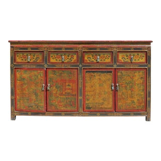 Chinese Tibetan Buddha Teaching Graphic Credenza Sideboard Console Cabinet For Sale