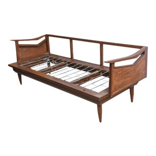 Restored Danish Teak and Cane Day Bed Attributed to Wegner, 1960s Denmark