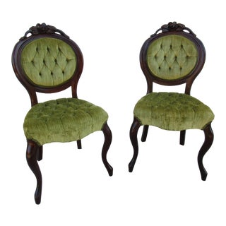Kimball Furniture Victorian Style Tufted Parlor Chairs - A Pair