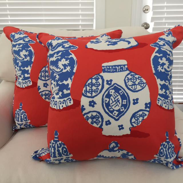 Dana Gibson Persimmon Red, White & Blue Pillows- A Pair - Image 3 of 7