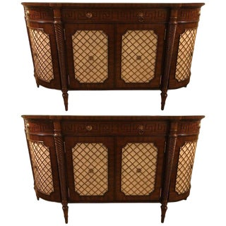 Demilune Maitland Smith Georgian Style Serving Cabinets or Commodes - A Pair