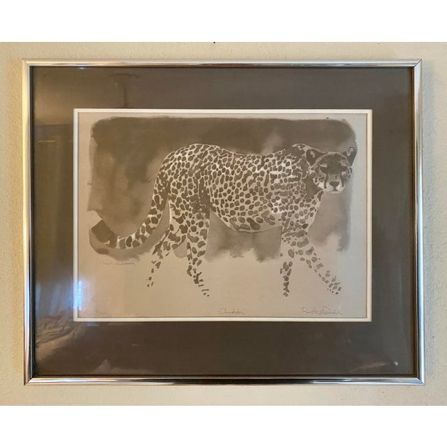 """Brown Vintage Framed Limited Edition African """"Cheetah"""" by Robert K McDonald For Sale - Image 8 of 8"""