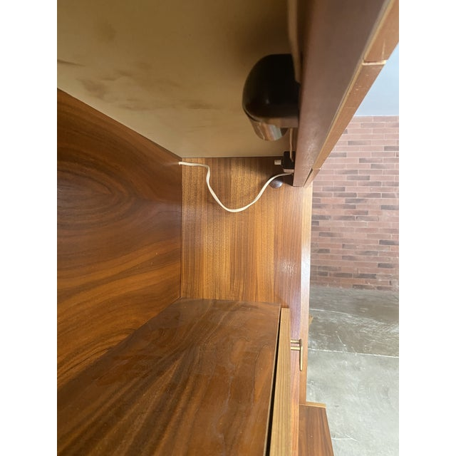 1970s West Germany MCM Mid Century Modern Wood Wall Unit Bar Cabinet For Sale - Image 9 of 13