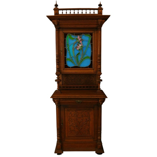 Antique Flemish Floral Stained Glass & Oak Hutch - Image 2 of 8