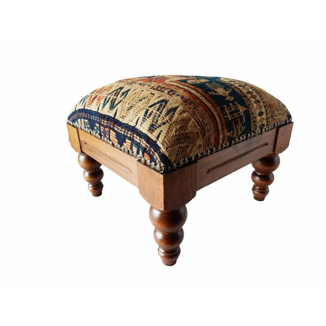 Antique Caucasian Sumac Wooden Footstool - Image 1 of 6