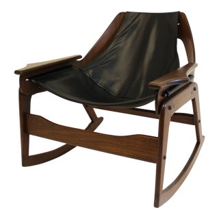 1960s Mid-Century Modern Leathercrafter Sling Walnut and Leather Rocking Chair