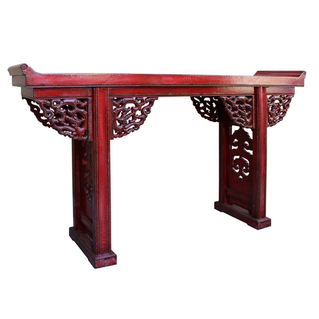 Chinese Distressed Red Lacquer Dragon Motif Apron Altar Console Table For Sale - Image 4 of 7