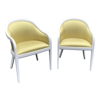 1990s Hollywood Regency Citron Occasional Chairs - a Pair For Sale