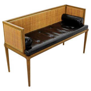 Mid-Century Modern Danish Style Wood Cane Brass Leather Bench Settee C.1960s For Sale