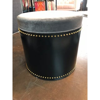 Taylor Burke Modern Black, Grey, and Gold Studded Ottomans - A Pair Preview