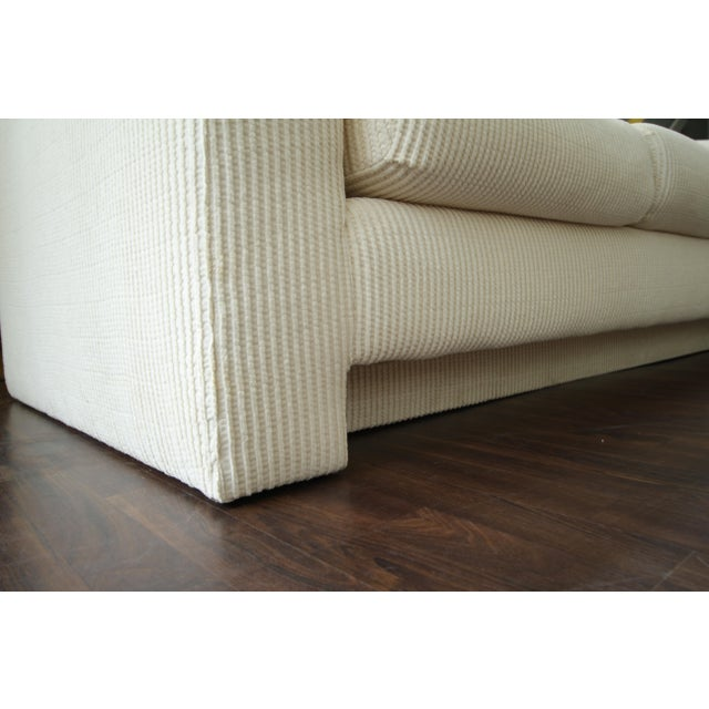 Milo Baughman Milo Baughman Inspired 3-Piece White Chenille Modernist Sectional Sofa For Sale - Image 4 of 7