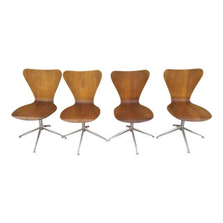 Mid Century Modern Viko BaumritterBentwood Swivel Chairs - Set of 4 For Sale
