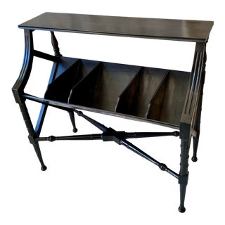 Vintage Distressed Black Open Storage French Console Table Wood For Sale
