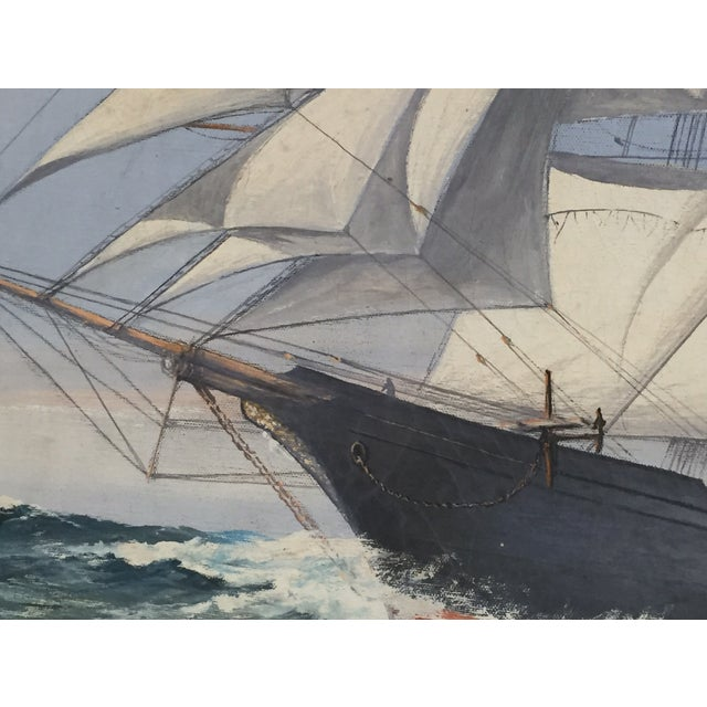 Wendell F. Collum Large Ship Painting - Image 7 of 9