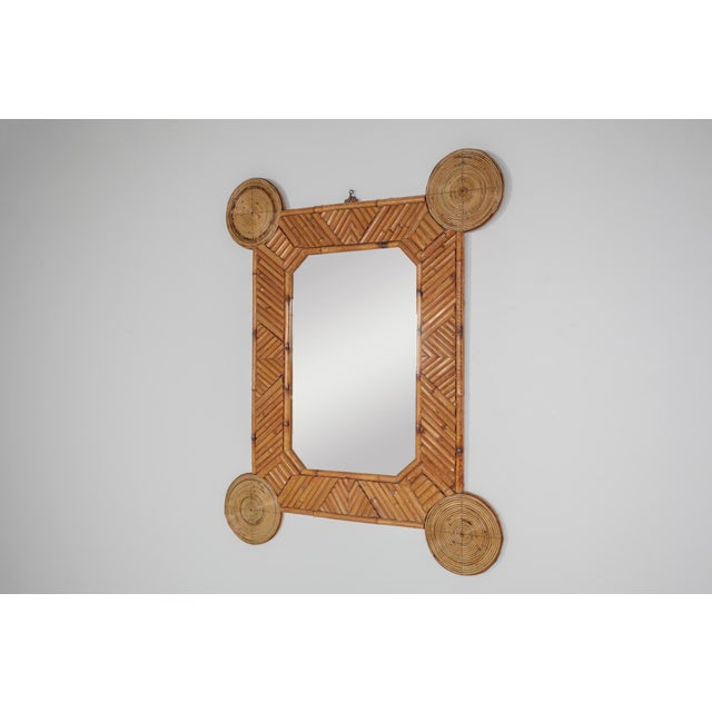 1970s Bamboo and Rattan Mirror by Arpex For Sale - Image 4 of 9