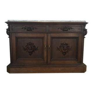 Marble Topped Walnut Sideboard Buffet With Carved Figures For Sale