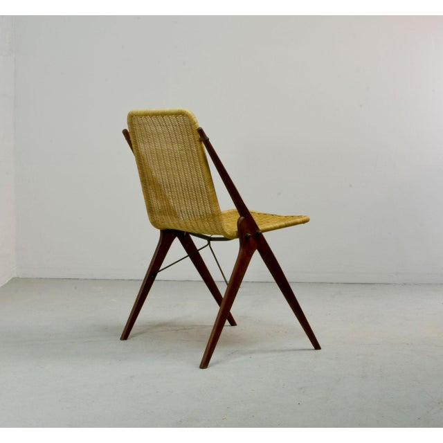 Dutch Design Wicker and Teak Wood Side Chair in Style of Dirk van Sliedregt, 1950s For Sale - Image 4 of 12