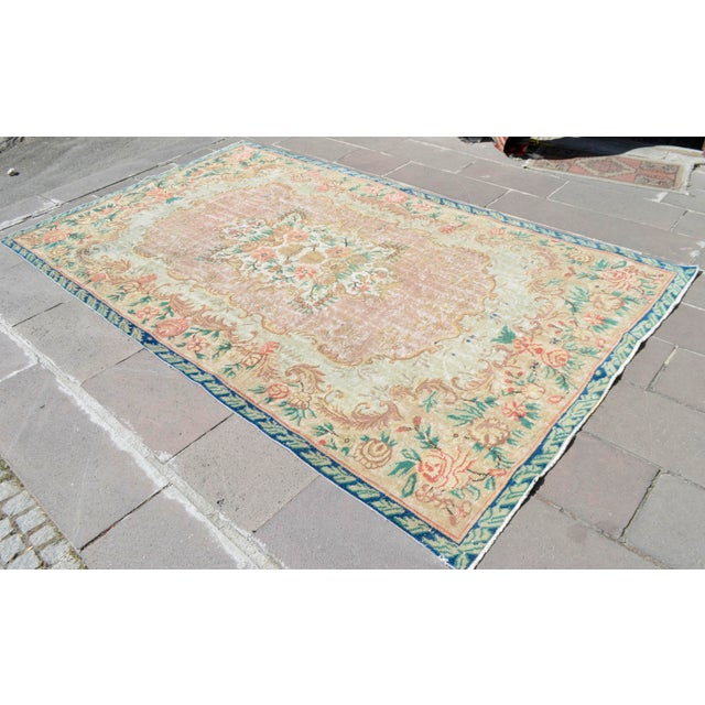Turkish Distressed Area Rug Hand Knotted Wool Carved Low