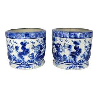 Blue & White Dragon Jardinieres, Pair For Sale